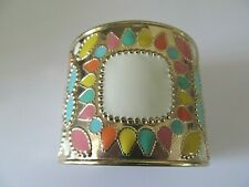 CHUCKY LARGE GOLD PLATED w/MULTI-COLORFUL TONES DESIGNED CUFF BANGLE BRACELET