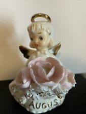 Lefton Angel Figurine 489 August Birthday Pink Flowers Poppy Peridot 4� Tall