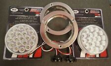 "(2) 19 LED Trux Dual Revolution 4"" Round Clear Lens Stop Tail Back-Up Flange Kit"