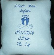 Personalised Blue Cushion Embroidered Baby Feet Design, gift, newborn, keepsake