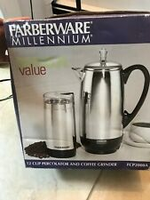 New listing Brand New Faberware Millenium Set: 12 Cup Percolator And Coffee Grinder