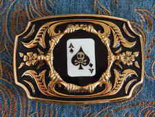 NEW LARGE BELT BUCKLE ACE OF SPADES PLAYING CARDS SKULL GOLD/BLACK METAL,WESTERN