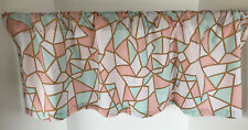 Valance Mint White Coral Gold Stain Glass Look Custom Made Window Treatment