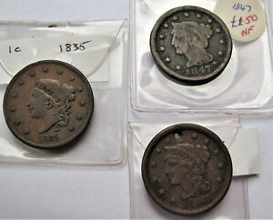 USA COINS COLLECTION  -- EARLY LARGE CENTS -- VARIOUS YEARS GRADES  X 3
