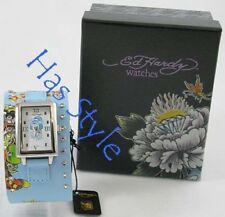 Ed Hardy TEMPTRESS Blue GEISHA Watch #TT-BGF0576 NIB