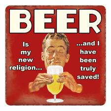 BIRRA-La mia RELIGIONE veramente salvato Retrò Divertente Pub melamina BEVANDE TAVOLA Coaster