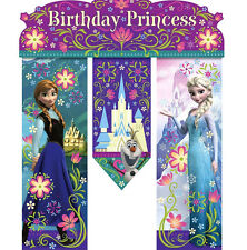 Disney's Frozen Birthday Princess Party Door Banner 26in Anna, Elsa and Olaf