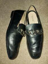 Massimo Dutti Black Leather moccasines shoes size uk 4 37