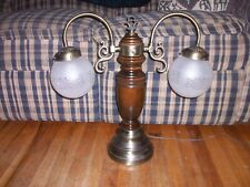 Student Lamp - VINTAGE Art Deco - Brass/Wood - Dual Hanging Frosted Globes  RARE