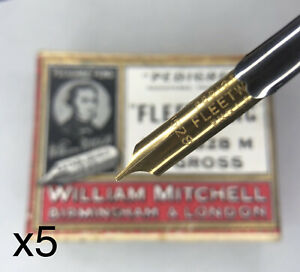 Vintage X5 William Mitchell Pedigree Fleetwing Nibs 0528M For Dip Pens Tips NEW