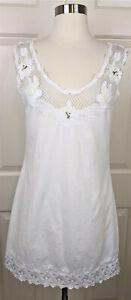 Free People White eyelet lace beaded cotton sleeveless boho shift Dress XS