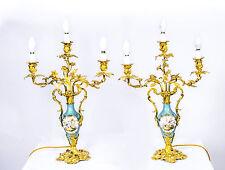 Antique paire sevres porcelaine bronze doré candélabres c.1900