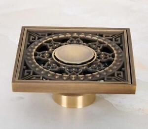 Antique Brass Art Carved Bathroom Square Floor Drain Waste Grate Drain Phr053