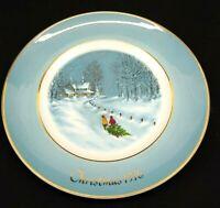 "Avon Christmas Plate 1976 Third Edition ""Bringing Home The Tree"" Enoch Wedgwood"