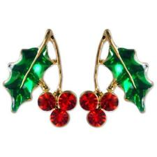 CRYSTAL RED GREEN CHRISTMAS MISTLETOE EARRINGS MADE WITH SWAROVSKI ELEMENTS