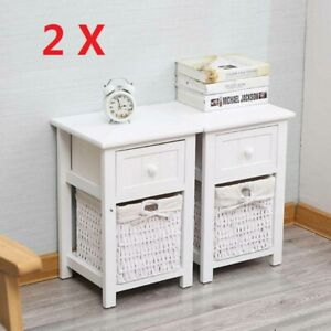 A Pair of Wooden Bedside Tables NightStand Cabinet Storage Drawer Wicker Baskets