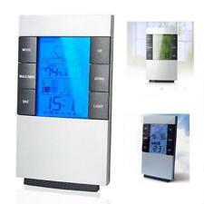 LCD Humidity Temperature Meter Hygrometer Room Indoor Thermometer Clock K6J4