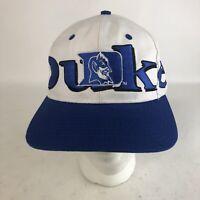 Vtg Duke Blue Devils Logo 7 NCAA Adjustable Snapback Cap Hat White Green Under