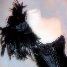 Jet Black EDWARDIAN Plume Épaule Pièce Haut Fourrure Rose Victorien Goth épaulette extérieure