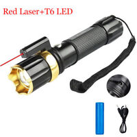 50000LM LED Red Laser Tactical Flashlight 3 Modes Zoomable AAA/18650 Torch Light