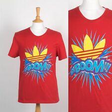 Para Hombre Adidas Retro adiboom Trébol Gráfico Camiseta Rojo Originales De Cuello Redondo M