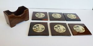 Chinese Clear Lacquered  6 Wood Coaster Set Hand Painted White Fisherman Insert