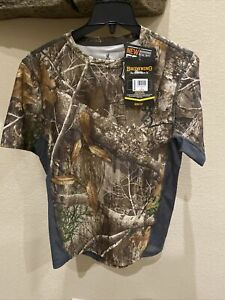 Men's Browning camo short sleeve with Silvadur Realtree Edge Size Small