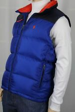 Ralph Lauren Blue Ski Down Vest Coat Puffer Orange Pony NWT