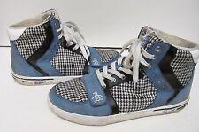 Penguin Original Moby Hi Top Sneakers Shoes Blue Plaid Fabric Leather Men's 9.5