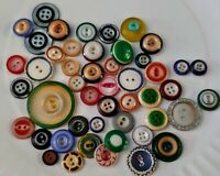 45 Vintage PLASTIC COLOR RIM BUTTONS 1930's 40's 50's Assorted Colors and Sizes