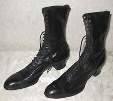 Antique F.E. Marsh Shoe Co. - Black Leather High Top Lace Up Shoes