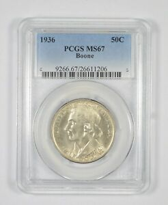 MS67 1936 Boone Bicentennial Commemorative Half Dollar - Graded PCGS *8055