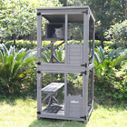 Aivituvin Wooden Cat House Outdoor and Indoor Run Large Cat Enclosure on Wheels
