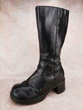 Vtg 90s CANDIE'S Black Chunky Heel Platform Retro Club Kid Goth Rave Boots 5-5.5