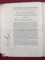 Toulouse en 1793 Société républicaine Dax Société Populaire Assignat Révolution