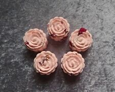 (set of 5) Aromatherapy Bath Bombs with Rose Essential Oil and Dry Rose Petals