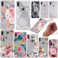 For iPhone 11 Pro Max XR XS 8 7 6s Flower Lace Pattern Soft Silicone Case Cover