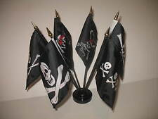 "Pirate Pirates Jolly Roger Set 6 Flags 4""x6"" Desk Set Table Stick Black Base"