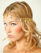 Grecian Gold Carved Leaf Flapper Crown Chain Head Hair Cascade Dress Piece Band