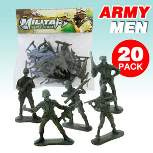 20pcs/Pack Military Plastic Toy Soldiers Army Men Figures 12 Poses Gift