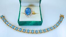 Suzanne Somers Blue Opal & CZ Bracelet & Ring  925 sterling Vermeil