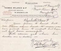 Memo. From Thomas McLaren & Co. Steam Ship Brokers 1889 Fix Date Letter Ref35902