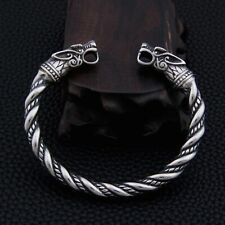 Men's Solid Viking Odin's Wolf Twist Stainless Steel Norse Cuff Bangle Gift UK