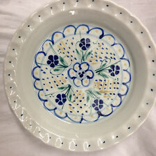 "HANNIGAN POTTERY EDGECOMB MAINE POTTERS 10.25"" ROUND CASSEROLE OR PIE PLATE BLUE"