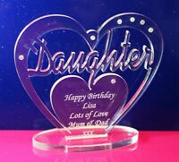Personalised Daughter Birthday Heart Gift with message -  Free Standing Keepsake
