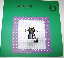 "Good Luck Completed Cross Stitch Card Black Cat 5.5"" sq"