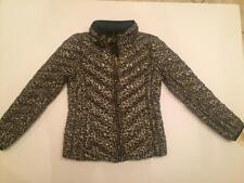NWT Michael Kors Down Packable w Bag Jacket Hood Leopard Black Gold Medium