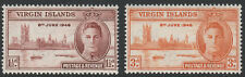 BRITISH VIRGIN IS.1946 VICTORY PAIR SG 122-123 MNH.