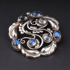 GEORG JENSEN Sterling Silver Moonlight Brooch #159 with Moonstones. New. 3531541