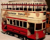 last rare MANCHESTER TRAMCAR TRAMWAY DOUBLE DECK tin toy tinplate car handmade